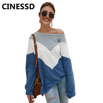 100% silk blouse women lightweight fabric striped printed plus o neck ruffles half sleeves loose casual tops new fashion 2017 CINESSD Women Pullover Sweater O Neck Long Sleeves Casual Loose Tops Striped Print Patchwork Autumn Winter 2019 Knitted Sweaters