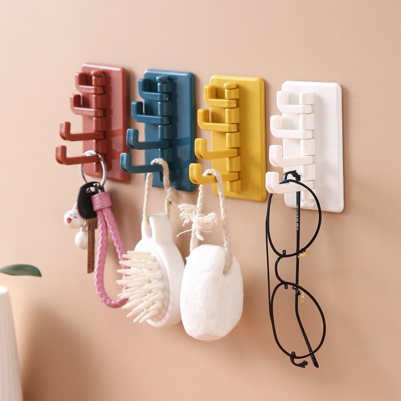 Adhesive Hook Rotatable Strong Stick Hook Kitchen Wall Hanger Load Bearing 3KG Bathroom Kitchen Hooks keys holder wall home