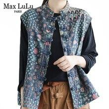 Max LuLu Осень Корейская мода уличная Женская одежда в стиле панк женские цветочные жилеты без рукавов повседневное пальто с принтом джинсовый жилет