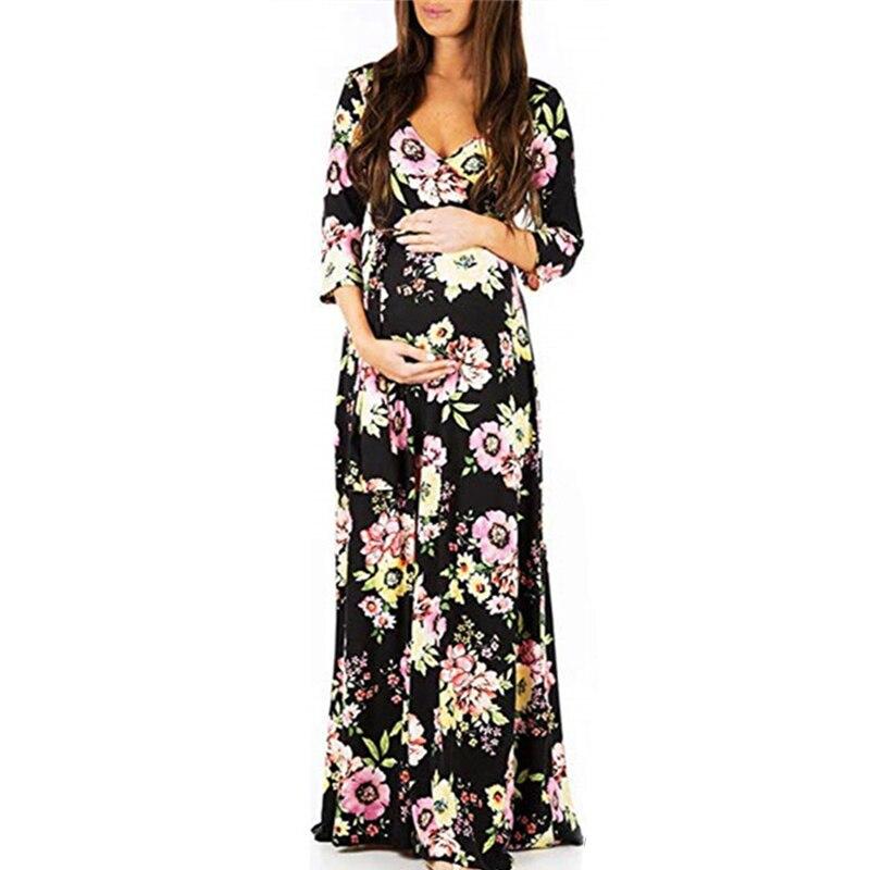 Boho Maternity Dress Floral Print Pregnancy Dresses Women Bohemia Holiday Dresses Long Sleeve Pregnant Vestidos Casual Robe Q30 Dresses Aliexpress