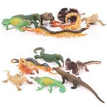 Floresta modelos animais sumilation frisado lagarto camaleão lagarto centopeia estatueta de plástico para casa jardim decoração crianças brinquedos