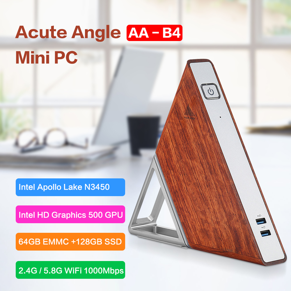 Ângulo agudo AA-B4 DIY Mini PC Intel Apollo Lago N3450 Windows10 64 8GB RAM GB EMMC 128GB SSD caixa de TV 2.4G 5.8G Wi-fi 1000Mbps BT4.0
