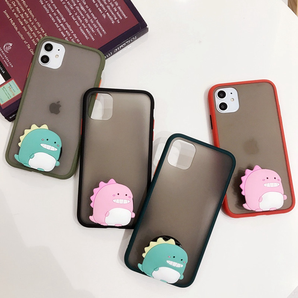 For <font><b>Samsung</b></font> A50 A30 A51 A71 A70 A01 A21 M30 A20E <font><b>A10S</b></font> A750 <font><b>Case</b></font> <font><b>Cute</b></font> Cartoon Dinosaur Stand Cover Hard Translucent Matte Coque image
