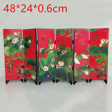 Mini Folding Panel Screen Room Divider Wooden Chinese Style Vintage Pattern Gift 48*24*0.6cm 6 Pieces