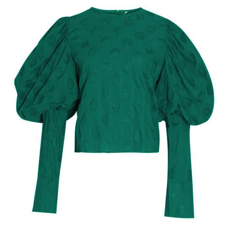 Red RoosaRosee Designer Vintage Autumn Polka Dot Women Green Blouse Long Lantern Sleeve Shirt Female 2019 Fashion New Lady OL