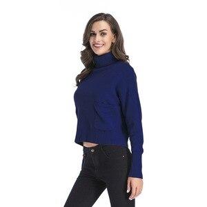 Image 5 - Jerseys de mujer sólidos de cuello alto de INSINBOBO suéteres sueltos de punto Otoño Invierno ropa Casual jerseys