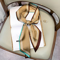 2021 Тонкий Узкий Тонкий шелковый шарф для женщин женская обувь на высоком каблуке; Полосатые маленькие шарф платок шарфы-ручки