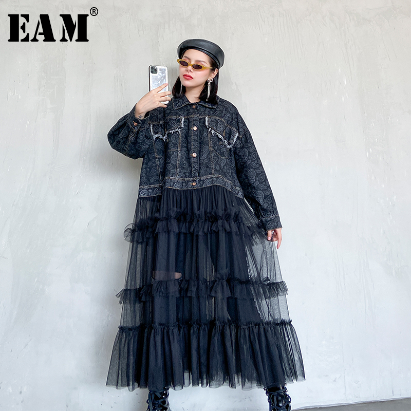 [EAM] Women Black Denim Mesh Split Big Size Trench New Lapel Long Sleeve Loose Fit Windbreaker Fashion Tide Spring 2020 1R678