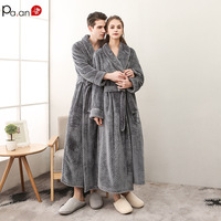 Pa.an Classic Thicken Bath Robe Dress Velvet Warm Bath Gown with Belt Hidden Pocket Couple Wear Valentine Gift Set