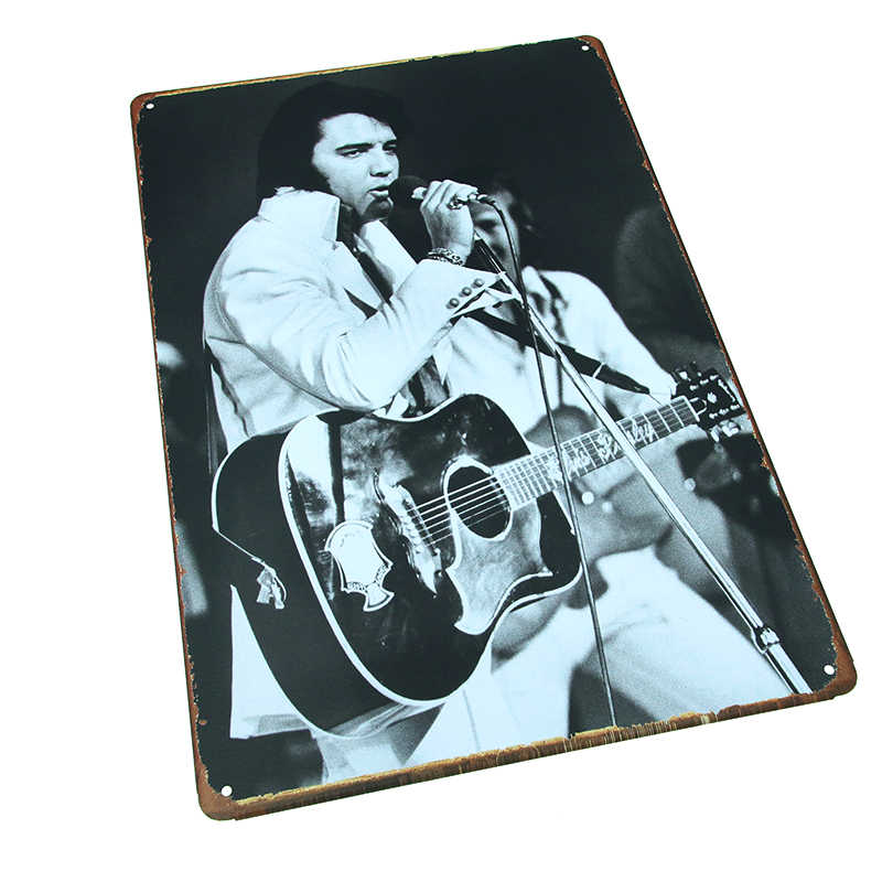 DLKKLB Vintage Decorazione Rock Cantante Elvis Presley Metallic Pittura Placca Segno di Metallo Poster Bar Club Casino Autoadesivo Della Parete