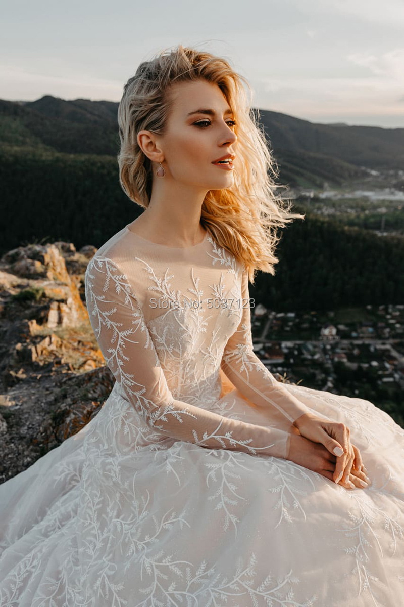 Image 2 - Tulle A Line Long Sleeves Wedding Dresses Vestido De Noiva Scoop Button Illusion Lace Appliques Bridal Gowns-in Wedding Dresses from Weddings & Events