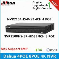 Dahua 4K NVR2104HS-P-S2 4CH 4Poe NVR2108HS-8P-HDS3 8CH  8 Poe Ports 1U Network Video Recorder max support 8MP resolution