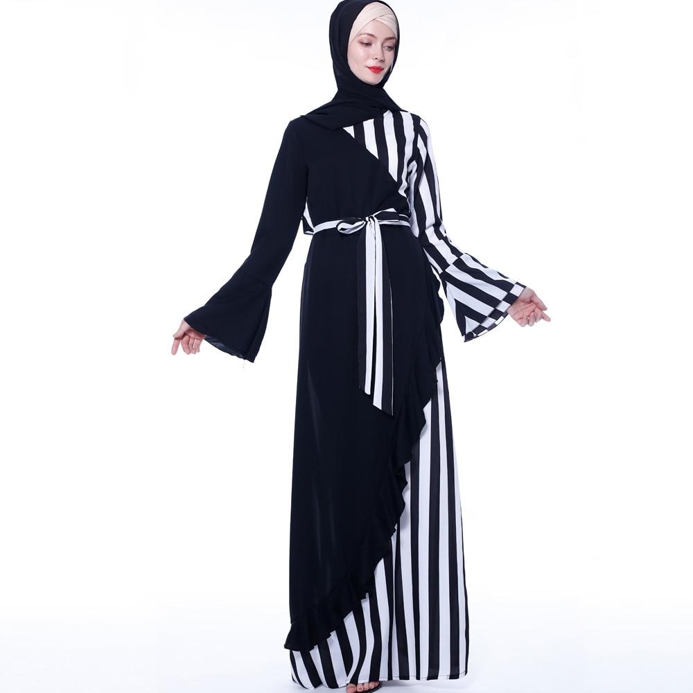 2019 femmes musulmanes colorées rayé moyen-orient abaya robes de mode noir musulman robes abaya dubaï vêtements
