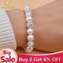 ASHIQI браслеты из натурального пресноводного жемчуга, браслеты для женщин с белой глиной, циркониевые шарики, эластичные ювелирные изделия, подарок
