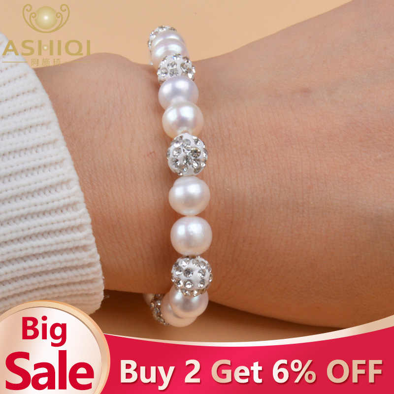 ASHIQI Genuine Natural Freshwater Pearl Bracelets Bangles For Women with White Clay Zircon Ball Elasticity Jewelry Gift