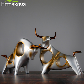 ERMAKOVA Cattle Statue Ox Home Decor Living Room Bull Sculpture Wine TV Cabinet Ornament Crafts Abstract Animal Figurine - discount item  35% OFF Home Decor