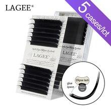 Lagee 5 Gevallen Platte Ellips Wimper Extensions Matte Black Split Tips Mix Valse Lash Natuurlijke Licht Make Up Tool