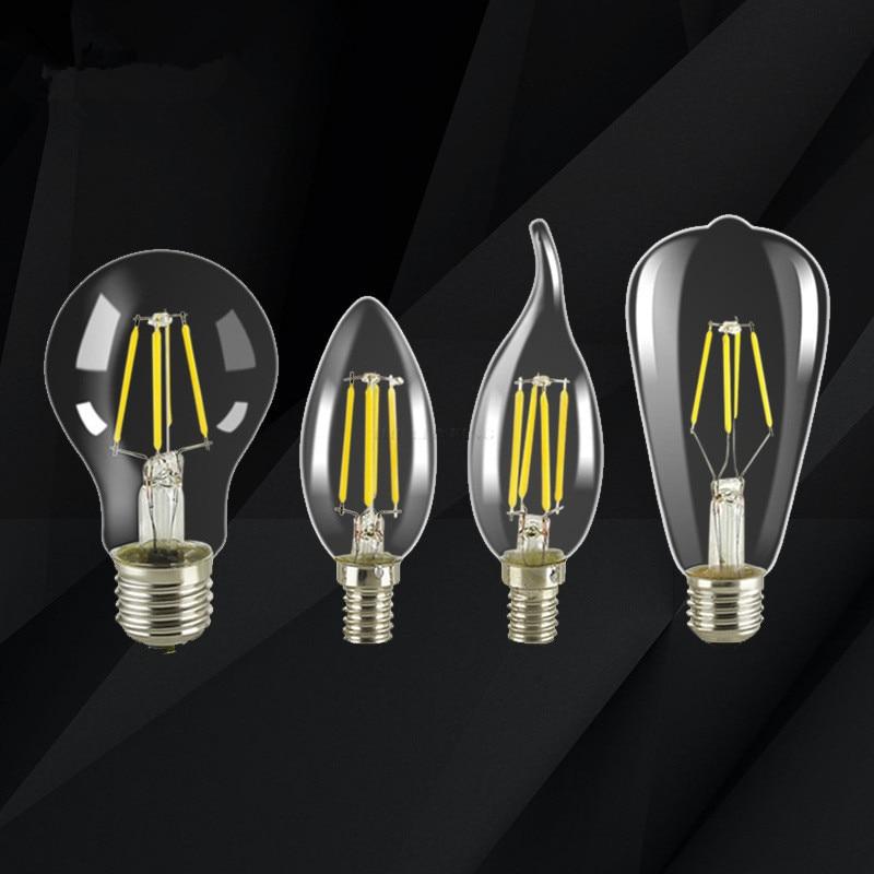 C35 C35L G45 Винтаж затемнения светодиодный нити светильник лампочка E27 E14 COB лампы 2/4/6/8 нитей 220 в 230 лампада LED 10 Вт, 15 Вт, 20 Вт, 25 Вт