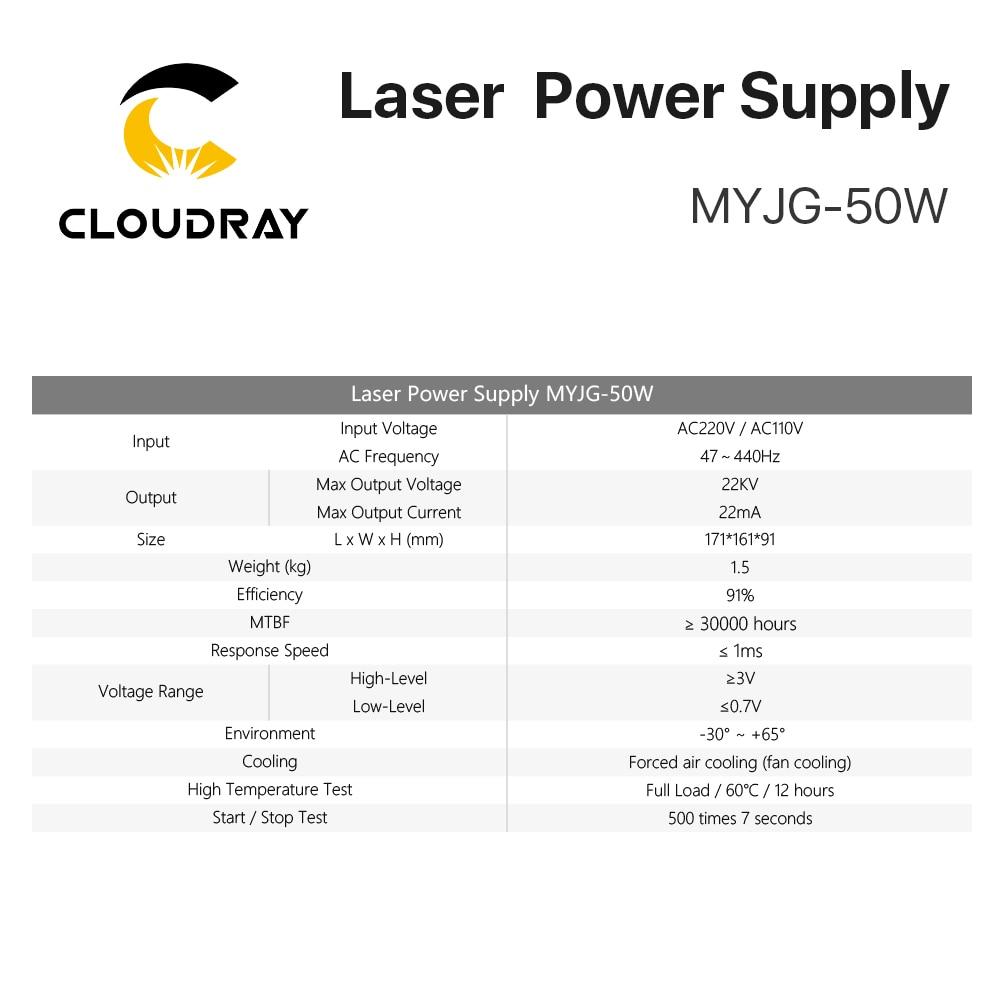 """""""Cloudray 50W CO2 lazerinis maitinimo šaltinis CO2 lazeriu - Medienos apdirbimo mašinų dalys - Nuotrauka 4"""