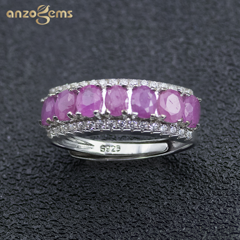 Anzogems African natural Ruby ring 925 sterling silver 1.55ct red gemstone fine jewelry for women's row band ring classic style