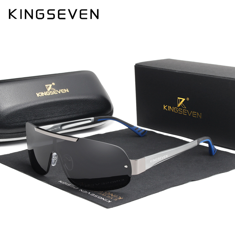 KINGSEVEN Goggles Design New Aluminum Men's Brand Sunglasses Polarized Sun Glasses Integrated Lens Night Vision Driving Eyewear