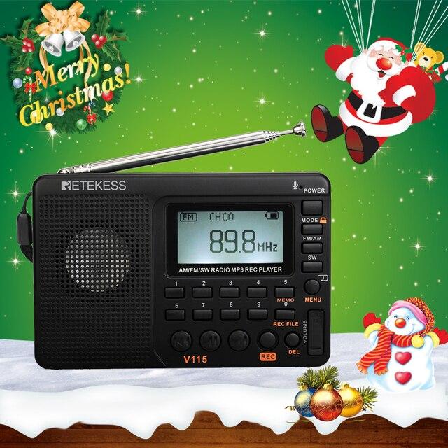 Retekess V115 FM/AM/SW استقبال راديو باس الصوت مشغل MP3 REC مسجل راديو محمول مع النوم الموقت TF بطاقة المحمولة جيب