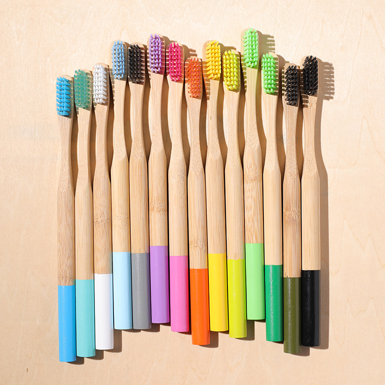1Pc Eco Friendly Adults Bamboo Toothbrush Medium Bristles Biodegradable Plastic-Free Oral Care Oothbrush Bamboo Handle Brush