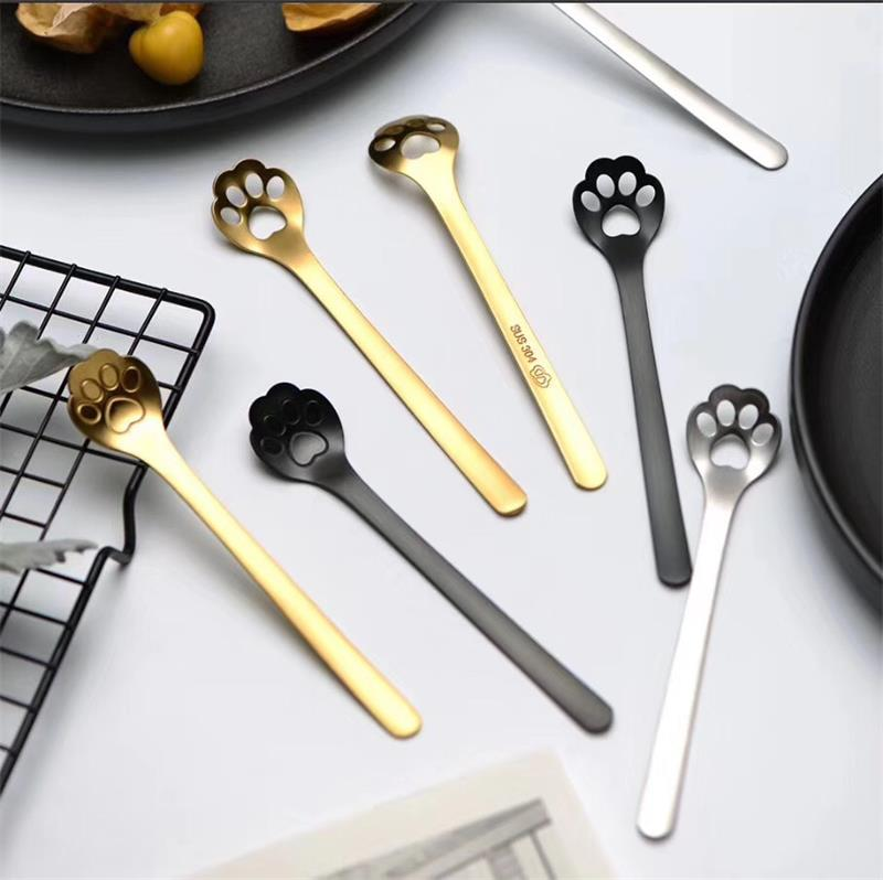 Stainless Steel Cat Dog Claw Coffee Spoon Cocktail Tea Mixing Stirring Bar Tool