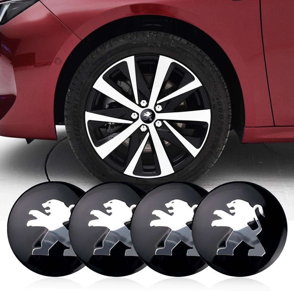 4pcs Car Styling 56mm Car Tire Wheel Center Sticker Hub Cap Emblem Badge Decals For Peugeot 206 207 301 307 308 407 408 508
