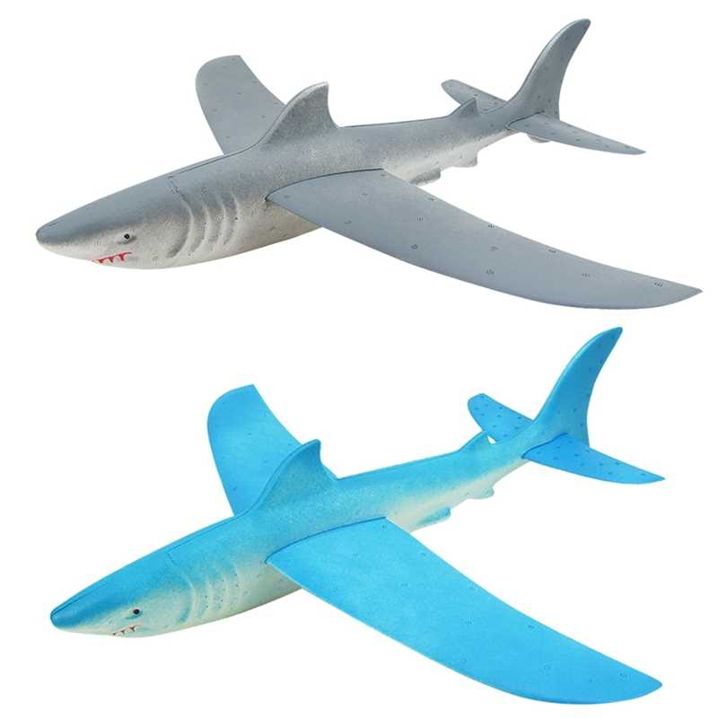 2 PCS Foam Airplane Hand Launch Throwing Airplane Toy Glider Aircraft Inertial Foam Shark Plane Toy Model Kids Toys