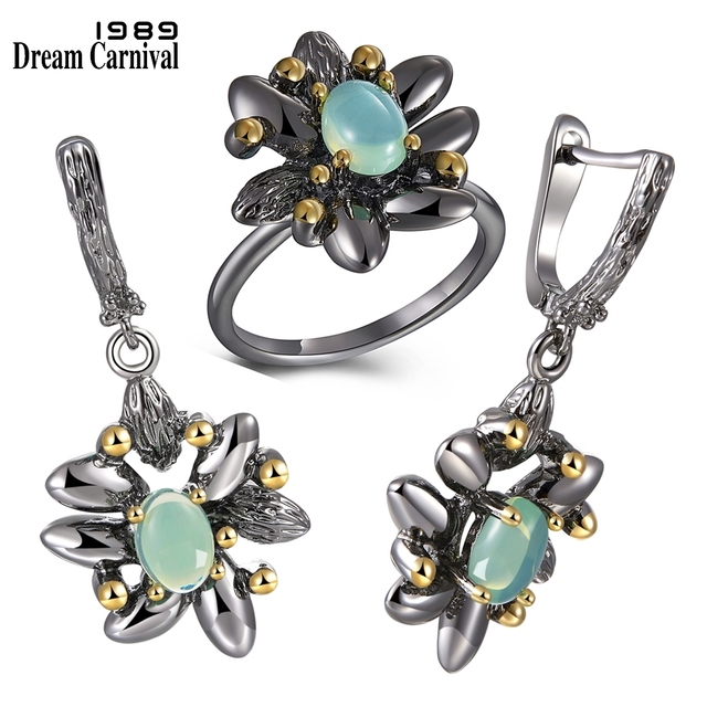 DreamCarnival1989 Vintage Flower Rings + Earrings Women Wedding Party Simulated Blue Opal Stone Black Gothic Jewelry  ER3890S2