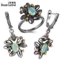 DreamCarnival1989 Vintage pierścienie kwiatowe + kolczyki kobiety wesele symulowane niebieski Opal kamień czarny gotycka biżuteria ER3890S2