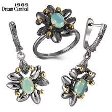 DreamCarnival1989 anneaux de fleurs Vintage pour femmes, boucles doreilles, imitation de fête de mariage, pierre dopale bleue et noire, bijou gothique, ER3890S2