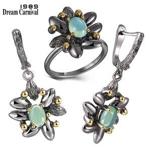 Image 1 - DreamCarnival1989 винтажные кольца с цветами + серьги для женщин для свадебной вечеринки имитация синего опала камень черный готический ювелирные изделия ER3890S2