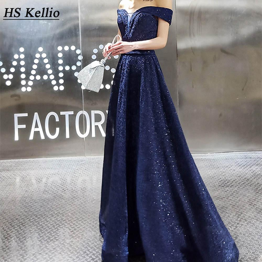 Evening     Dress   Navy Blue Off Shoulder Floor Length Elegant Actress Party   Dress   Red Carpet