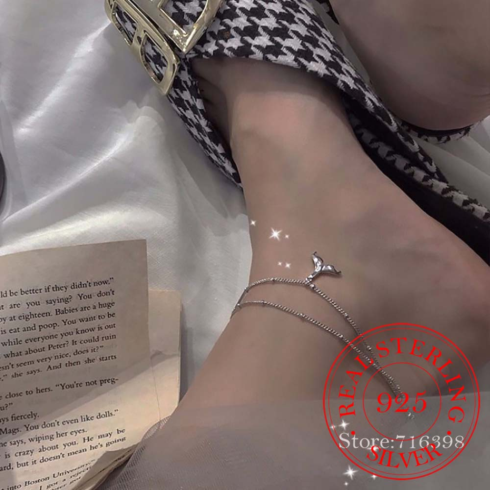 925 Sterling Silver Mermaid Charm Pendant Multi Layer Link Chain Anklet Party Jewelry Gift for Women