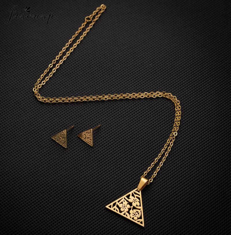 Jisensp unikalna konstrukcja geometryczne kwiaty zestawy biżuterii ze stali nierdzewnej dla kobiet prosty trójkąt zwierząt wisiorek naszyjnik kolczyki