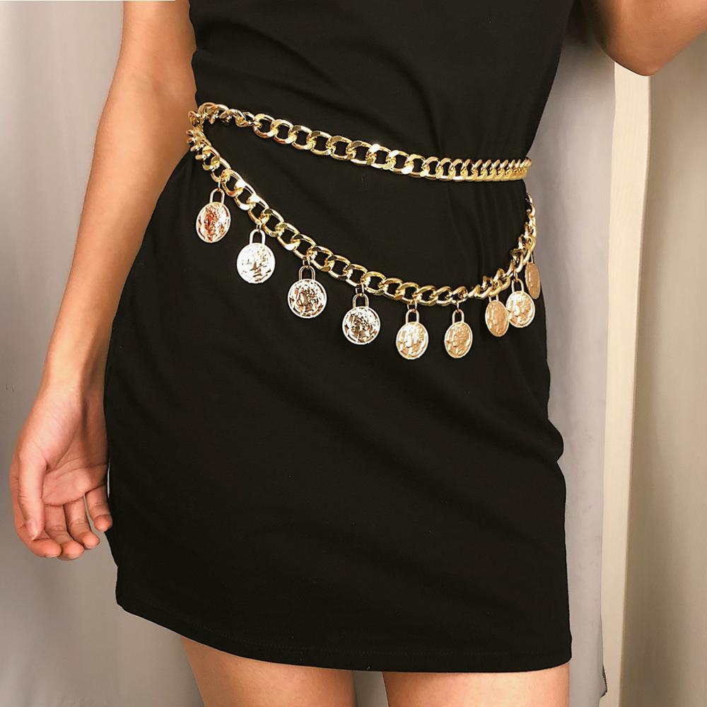 Women Retro Gold Belts Waistbands All-match Multilayer Long Tassel For Party Jewelry Dress Waist Chain Coin Pendant Belts