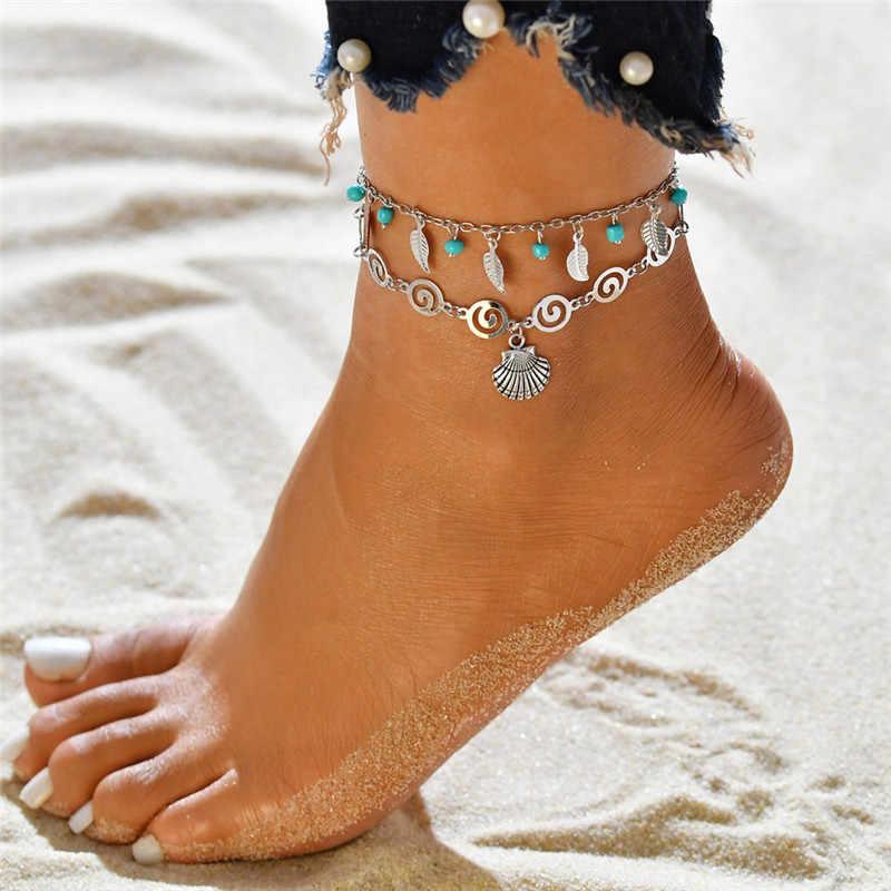 Modyle vintage prata cor multicamadas tornozeleiras para mulheres boêmio tartaruga conch contas folhas tornozeleira pulseira boho jóias