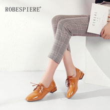 ROBESPIERE Hot Sale Lace Up Derby Shoes Soft Patent Leather Square Toe Flats Fashion Metal Decoration Low Heels Women A35