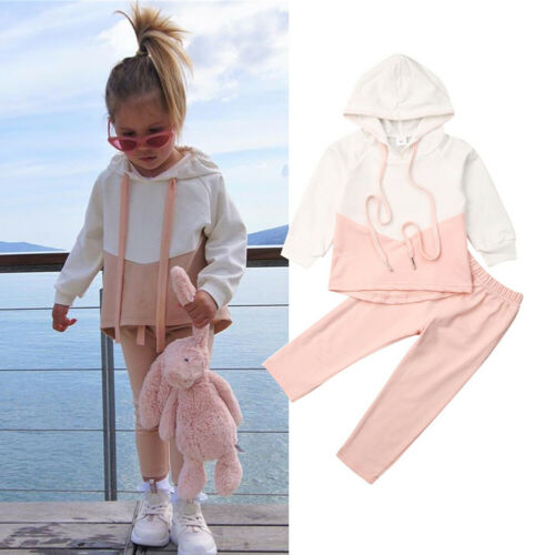 Clothes-Sets Tracksuit Top-Pants Outfits Hooded-Shirt Toddler Baby-Girl Kids 2PCS Patchwork title=