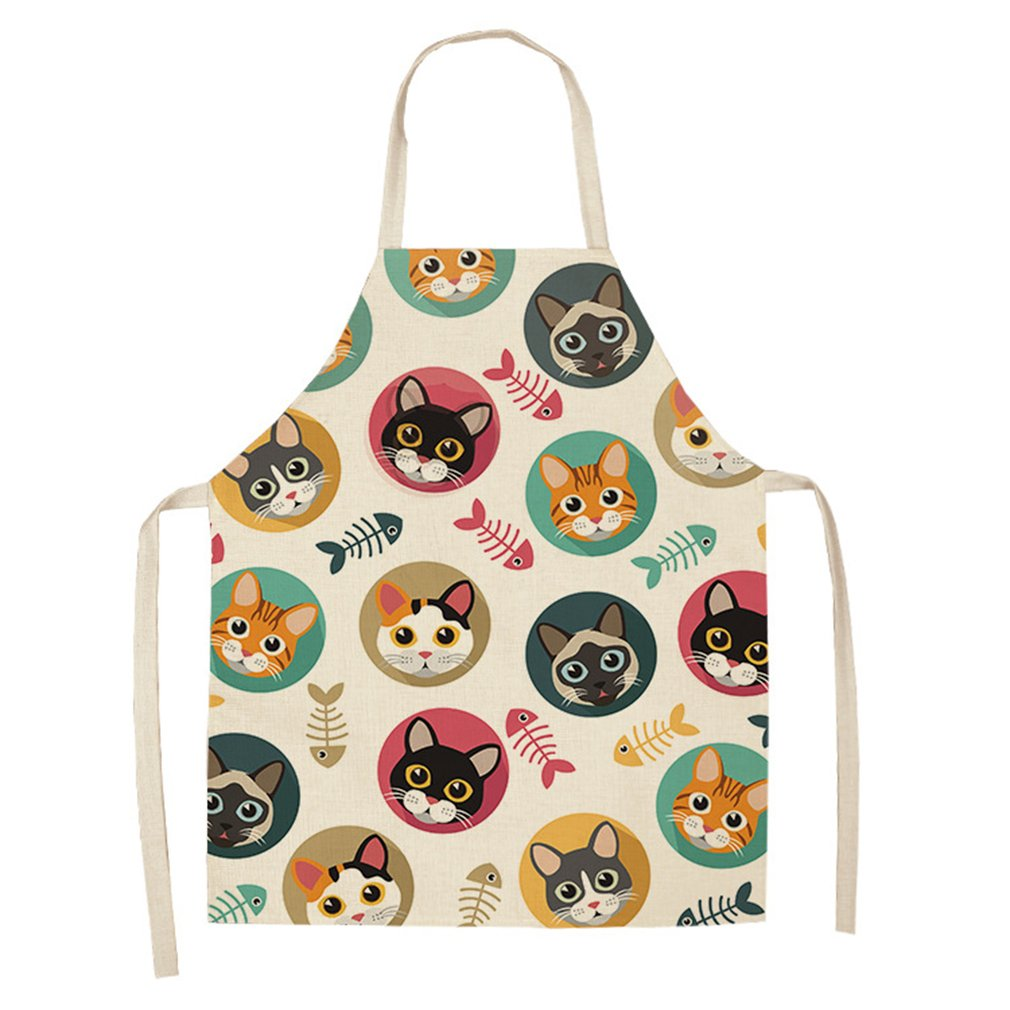 WQ0057 Cartoon Cat Printed Waterproof Women Men Apron Restaurant Barbecue Dining Room Cooking Halterneck Aprons