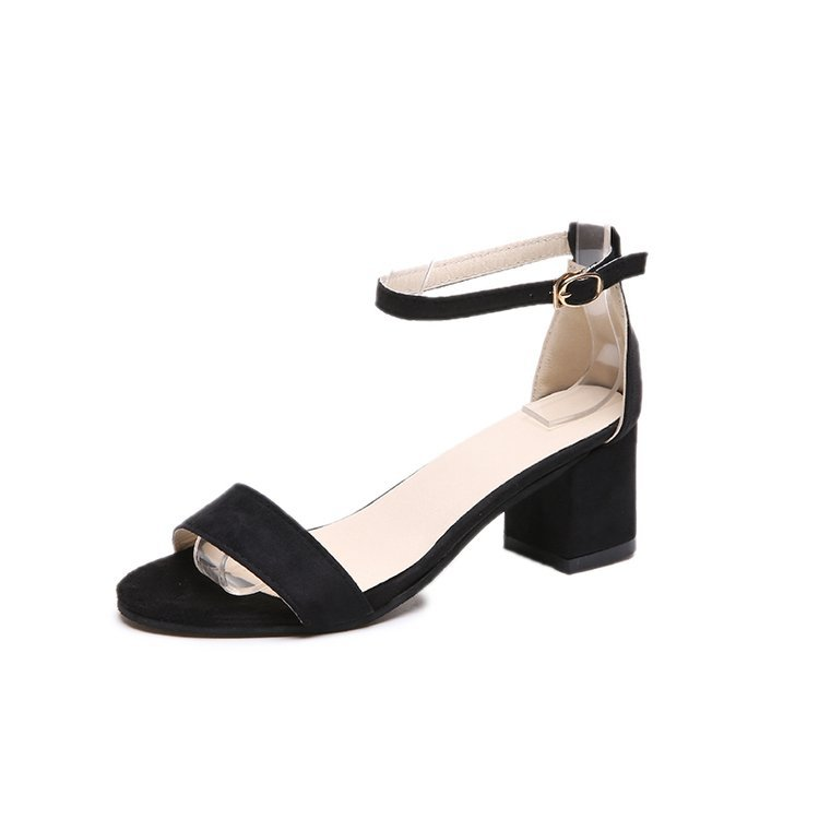 5.5CM High Heel Women's Shoes 2019 Summer Suede Black Korean Student Shoes Sandals In Rome With High Heel Thick With A Buckle