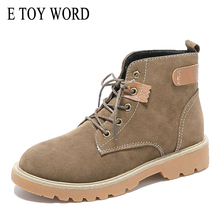 E TOY WORD Martin boots women British wind ladies ankle boots lace up Flat heel vintage booties women spring autumn single boots trendy flat heel and tie up design women s boots