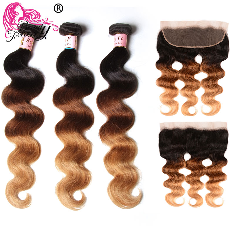 Beauty Forever Ombre Body Wave Brazilian Hair Weave 3 Bundles With Lace Frontal 13*4 Ear To Ear Remy Human Hair T1B/4/27