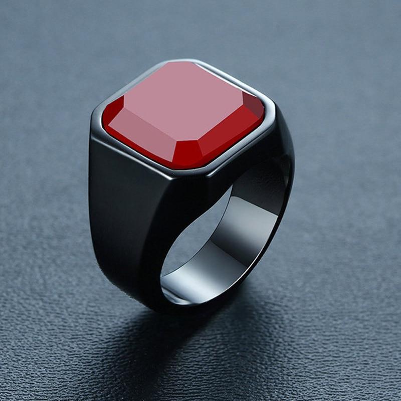 ¡Venta al por mayor! anillo cuadrado de acero inoxidable para hombre ZORCVENS Vintage, anillo rojo con piedra natural, anillo negro de acero inoxidable