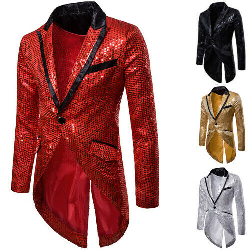 Hot sale solid <font><b>Men</b></font> Shiny <font><b>Sequins</b></font> Suit <font><b>Jacket</b></font> <font><b>Blazer</b></font> One Button Formal Tuxedo Wedding Party Coat Party Stage Singer Costume Homme image