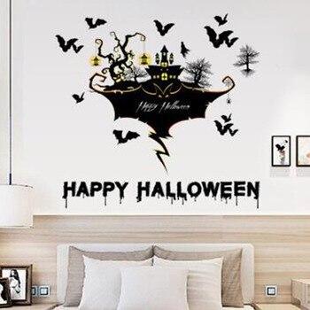 Felice Festa di Halloween Del Fumetto Autoadesivo Della Parete per La Decorazione Domestica Soggiorno camera Dei Bambini Carta Da Parati Della Parete Decalcomanie