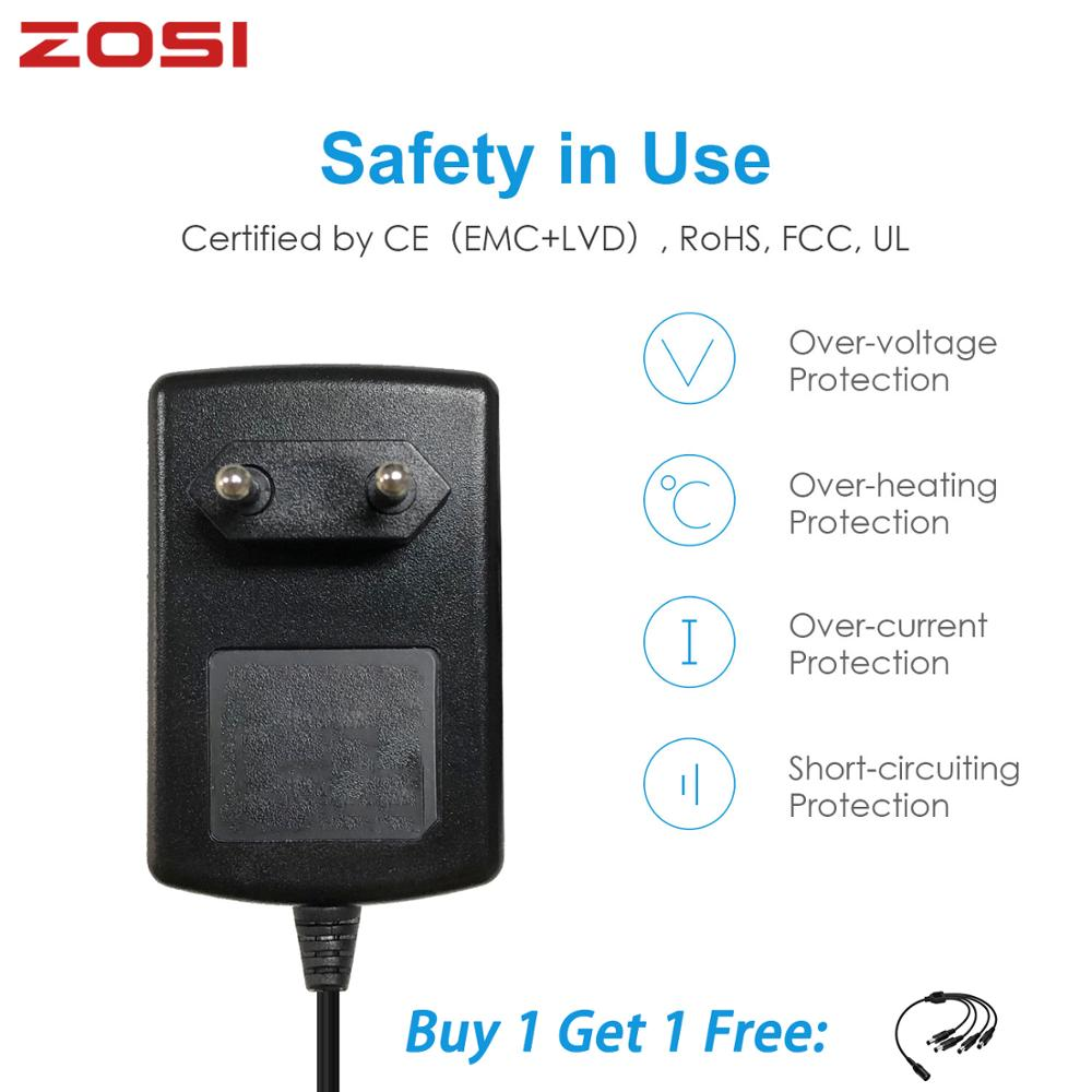 ZOSI DC 12V 2A EU US AU UK CCTV Video Power Supply Adapter Charger For BNC Outdoor Security Camera Video Surveillance System