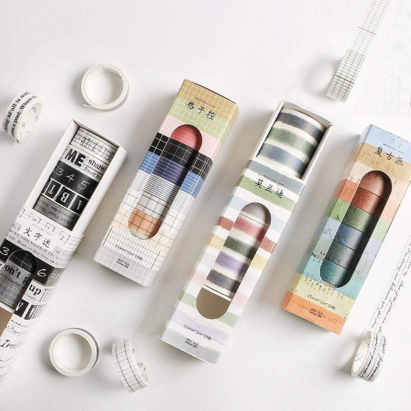 10 Pcs/pack Washi Tape Striped/Grid/Alphabet Decorative Stickers Washitape Japanese Paper DIY Planner Sticker Label Masking Tape